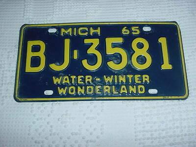 Nice Clean Solid 1965 Michigan Passenger Plate – Look