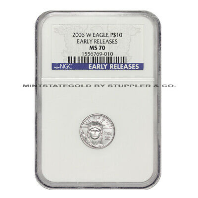 2006-W $10 American Platinum Eagle NGC MS70 Early Releases Burnished 1/10 Coin