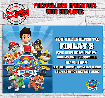 Paw Patrol Personalised Birthday Party Invitations Invites With Envelopes
