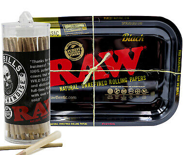 Raw Cones Pre Rolled King Size 50 Count + Raw Black Rolling Tray