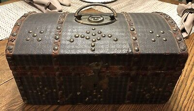 Early 18th-19th c Document Box New England Leather Hinges Lock Wallpaper Lined