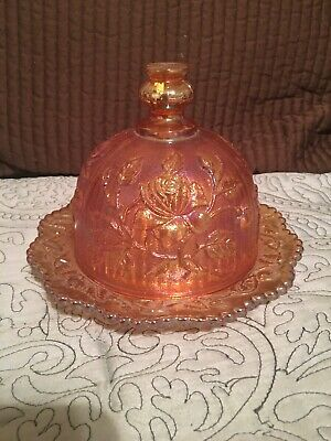 Vintage Imperial Glass, Marigold Carnival Open Roses, Butter Dish with Dome (68)
