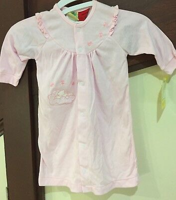 Baby Girl L/S Night Dress - Pink with Applique Size 00 SleepWear
