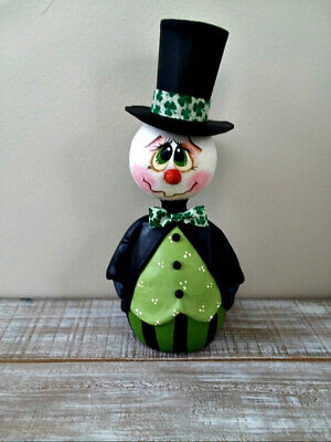 Hand Painted St.Patrick's Day Snowman  Doll Gourd