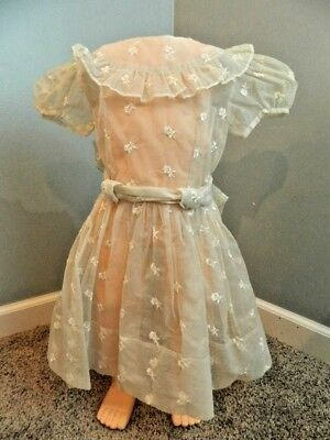 Vtg 50's girls sheer embroidered nylon ruffle dress 4-5