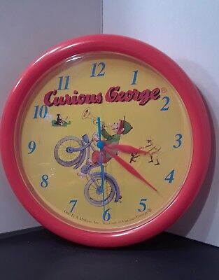 Curious George Wall Clock 1970's Battery Red One in a Million Inc Vintage