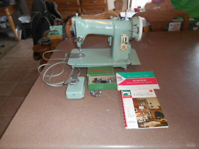 Vintage 1950's Green Singer 185J3 Sewing Machine With Manual & Attachments