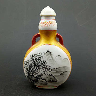 Chinese Handmade Exquisite Mountain & trees pattern porcelain snuff bottle  A582