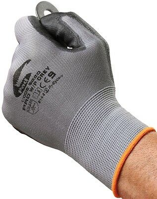 Grey Unisex Work Polyester Gloves -  Breathable, Heavy Duty, Coated Nitrile