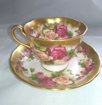 "Vintage Royal Chelsea ""Golden Rose"" Cup & Saucer Made in England#3983 Heavy Gold"