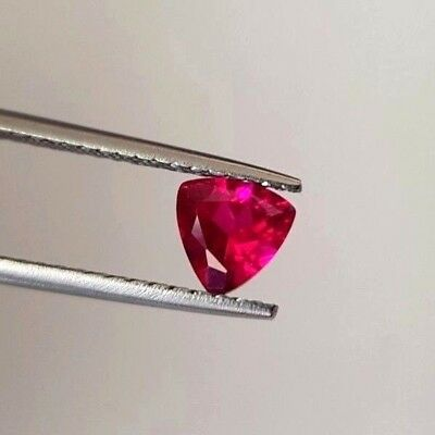 "Synthetic corundum. Color ""Ruby"". Trillion 7x7mm"