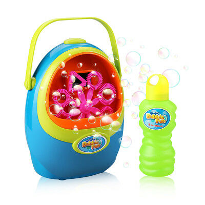 Kids Outdoor Auto Electric Bubble Machine Maker Toy Gift With Bubble Solution US