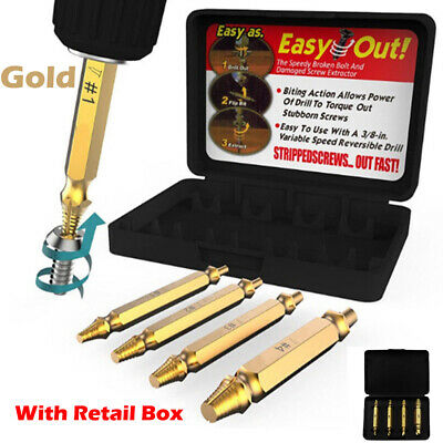 New 4pcs Damaged Screw Remover Set Extractor Stripped Drill Bit Tool Broken Bolt