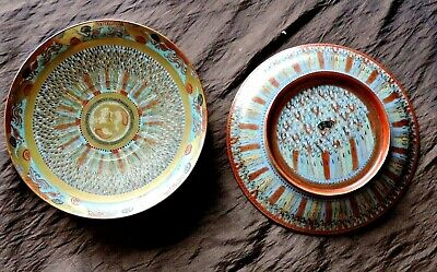 A Pair  Of Antique Japanese Gold Satsuma 2 Side  Plate 1000 Faces Hand Painted