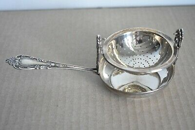 Old Ornate Solid Sterling Silver 925 Del Pilar Peru Tea Strainer Stand