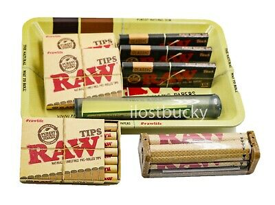 Bundle Combo 3x RAW Black 1 1/4 Rolling Paper & PreRolled Tips + Tray + Tube