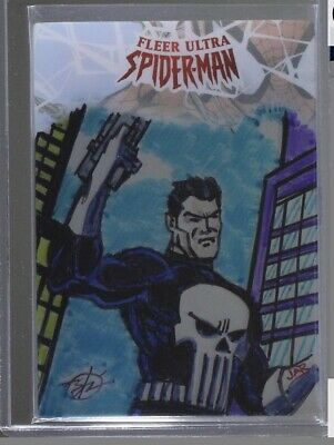 2017 Fleer Ultra Spider-Man Plexiglass Sketch Card Punisher By Benitez Ramirez