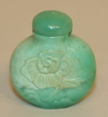 Vintage Chinese Snuff Bottle Green Natural Stone w/ Hand Carved Fruits & Flower
