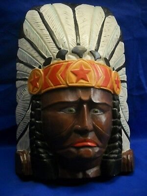 "Tobacco Store Native Bust Life Size Hand Carved From 1 Piece Of Wood 19"" tall"
