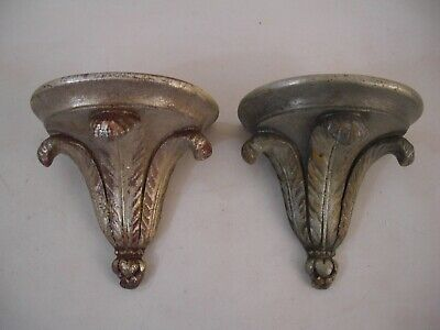 Prince Wales Silver Gilt Plume Wall Bracket Shelves French Grand Tour Style