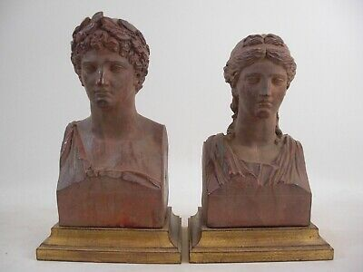 "Large 10"" Apollo & Diana Bust Statue Gold Gilt Wood Base French Grand Tour Style"