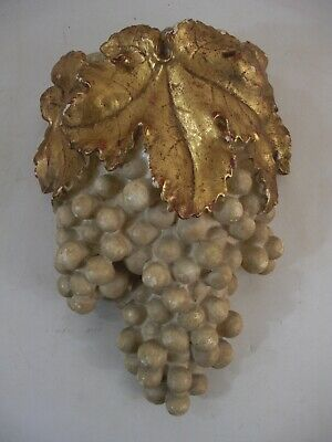 Grape Vino Wall Pocket Gold Gilt Leaves Italy French Spain Grand Tour Style