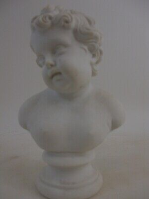 "2of2 - Heavy 1 lb 7.5"" Cherub Putti Parian Bust English French Grand Tour Style"