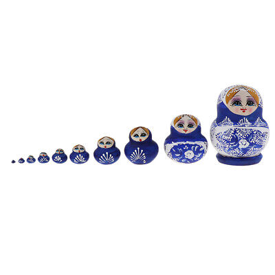 10pcs Wood Blue Girls Russian Nesting Doll Babushka Matryoshka Stacking Doll