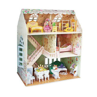 DIY Handcraft Miniature Project Wooden Dolls House Kids Gift - Villa Models