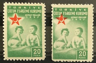 1957 Turkey 2 Error Stamps Red Crescent Shift & Reverse MNHOG XF  X1/49
