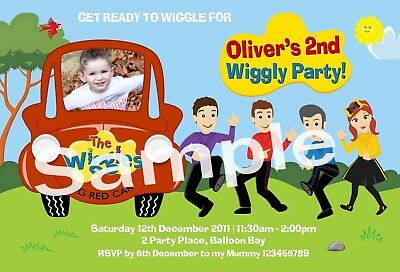 Personalised Wiggles Car Photo Invitations 1st 2nd 3rd Birthday Party Invites