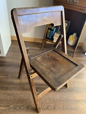 Antique Solid Wood Folding Chair Farmhouse