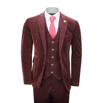 Mens Corduroy 3 Piece Suit Maroon Classic Tailored Fit Jacket Waistcoat Trousers