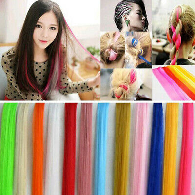 Fashion Hair Extensions Piece Straight Long Women Clip Synthetic Multi-Color