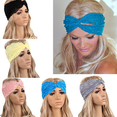 Women Lace Headband Stretch Fancy Floral Cross Wide Band Boho Lady Chic Hairband