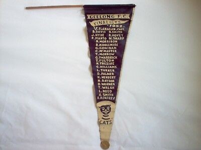 1952 Geelong Cats Finals Flag With Team Names Printed On & They Won The Final