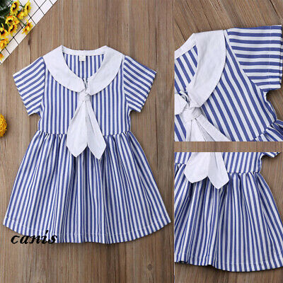 Sweet Toddler Baby Girls Short Sleeve Dress Party Princess Sundress Outfit NEW