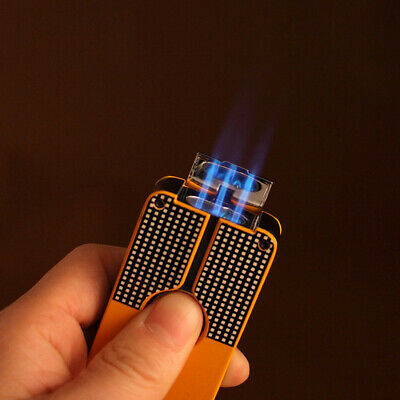 COHIBA Yellow Metal 3 Jet Flame Torch Middle Button Cigar windproof Lighter