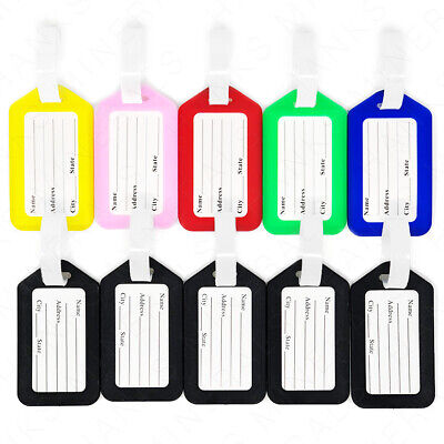 10-Pack Luggage Tags Travel Suitcase Bag Tag Name Address ID Plastic Labels