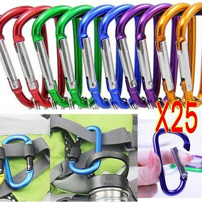 25Pcs Aluminum Snap Hook Carabiner D-Ring Key Chain Clip Keychain Hiking Camp CA