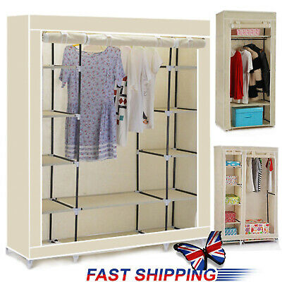 Triple Double Single Canvas Effect Wardrobe Clothes Hanging Rail Shelves Storage
