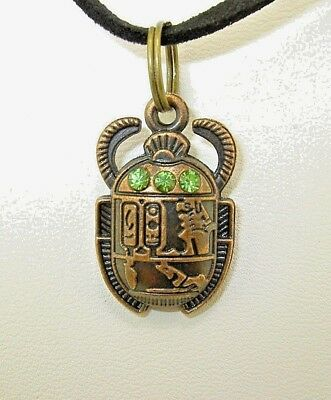 New  3-D Egyptian SCARAB Beetle with green crystals Copper-tone Pendant Necklace