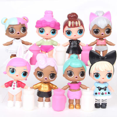 8pcs LOL SURPRISE DOLL Blind Mystery Toy PVC Figure Cake Topper Gift Kid Toy
