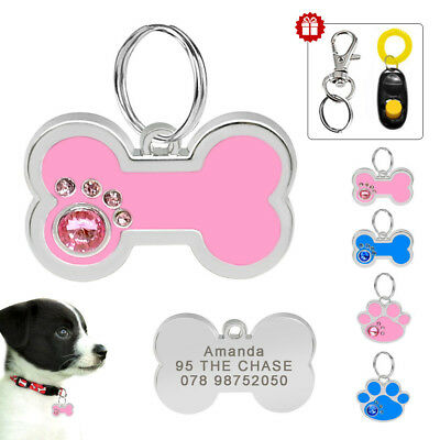 Personalised Dog Tags Bone/Paw Shape Custom Engraved Puppy Cat ID Tag 2 Colors