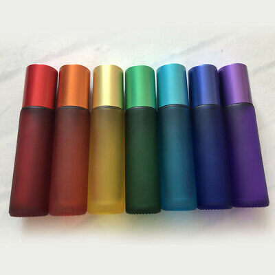 5ml 10ml THICK Frosted Coloured Glass Roll On Bottles Roller for Essential Oils
