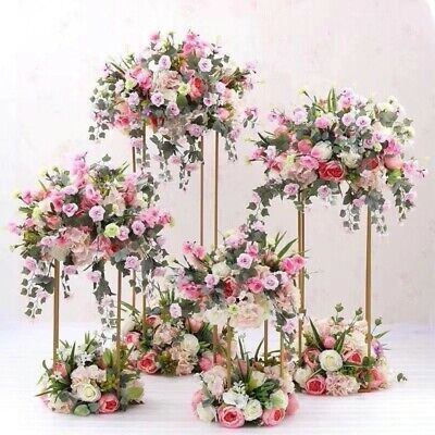 JOB LOT Flower Gold Metal Flower Stand / Wedding centerpieces 4pcs