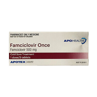 APO-Famciclovir 500mg Tablets 3 (Famvir Generic) Cold Sore Treatment Anti-Viral