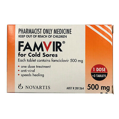 Famvir 500mg For Cold Sores Tablets 3 Famciclovir Cold Sore Treatment Anti-Viral