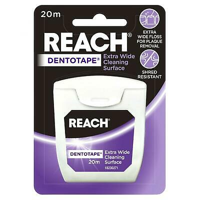 Listerine Reach Dentotape Floss 20m Extra Wide Cleaning Surface Plaque Remover