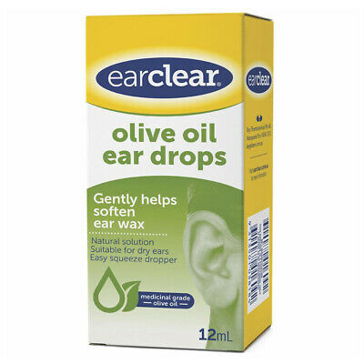 Ear Clear Olive Oil Ear Drops 12ml Ear Cleaner Dual Action Soft Loosen Formula